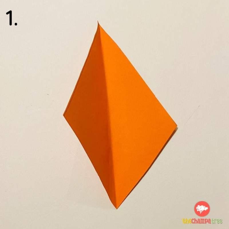 Orange rhombus paper for 3D kite