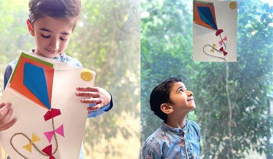Easy Paper Craft - Boy flying DIY kite