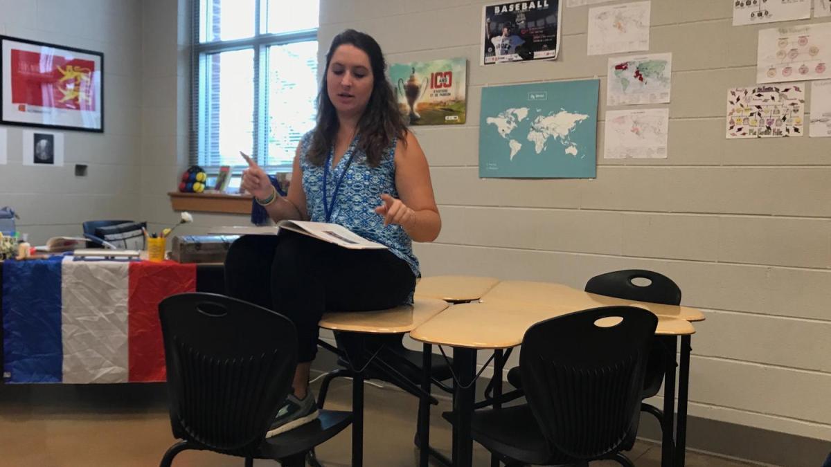 French+teacher%2C+Chelsea+Shaffer%2C+instructs+her+class+as+a+first-year+OHS+teacher.+