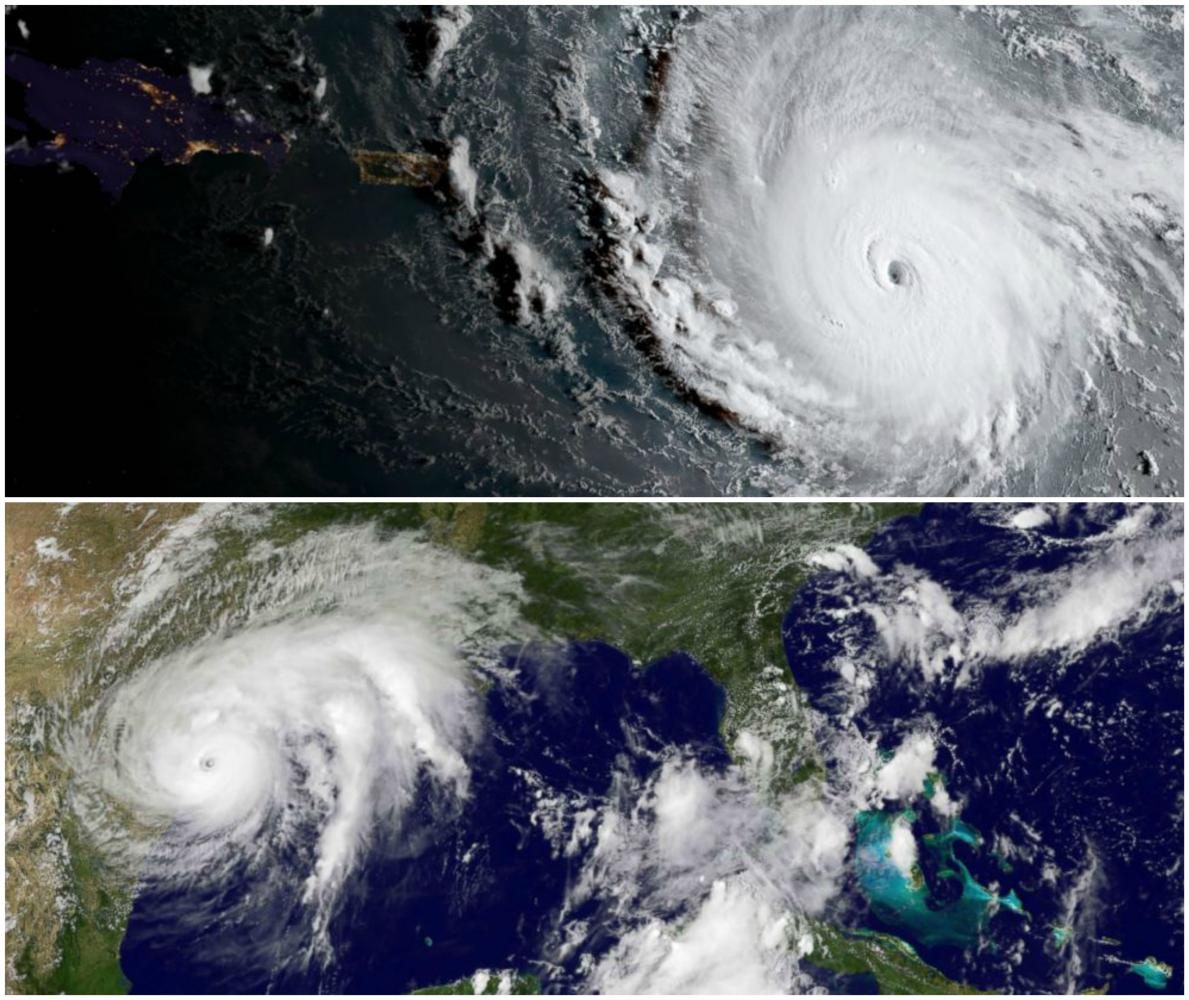 Satellite+pictures+of+Harvey+and+Irma+show+the+magnitude+of+the+storms.+The+two+storms+could+cost+290+billion+dollars+total+in+damages.