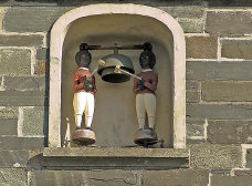 9: Tom and Tim the quarter boys/On the Guildhall tower/Turn and strike the quarter-bell/Twenty times an hour. From: Quarter-Jacks. These can be found on the Guildhall above the clock face and overlooking the castle entrance.