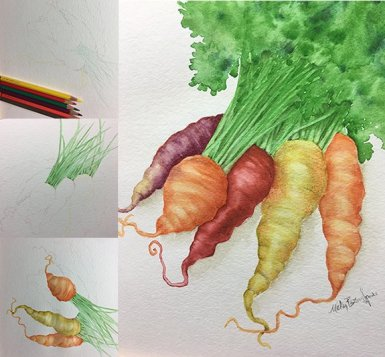 """Colorful Carrots Watercolor Step by Step"" by <a href=""http://www.mickeybaxterspade.com"">Mickey Baxter-Spade</a>. Check out her delightful art blog <a href=""https://mickeybaxterspade.com/blog/"">here</a>. </strong>"