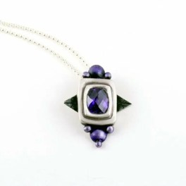 Fruit Of The Vine by artist E Pelati, amethyst set in square bezel with side purple pearls.