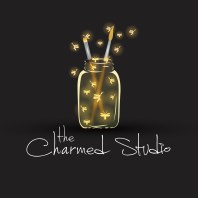 The Charmed Studio logo of a mason char filled with paint brushes and fireflies