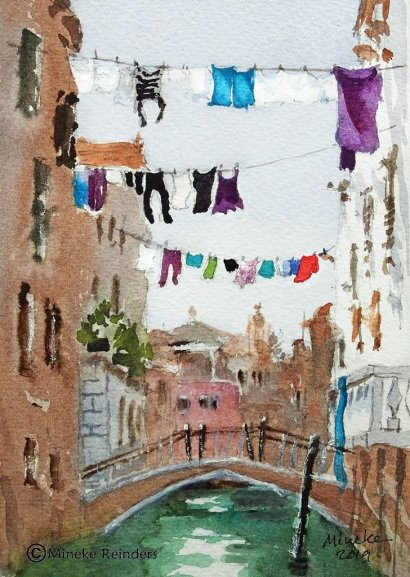 Drying Time watercolor of Venice laundry on line for How to recover from harsh art critique post