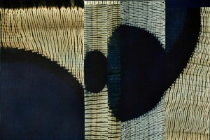 "2nd Quarter Pearl. 2014 by Frank Connet. Indigo and walnut dyes on wool, cut & pieced, mounted. Photo by Guy Nicol. 40"" x 60"". Copyright © 2014 Frank Connet. Used by permission of the artist."