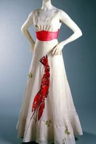 Dali wanted to add actual mayonnaise on top of the lobster painting on this dress but was forbidden by his collaborator, Elsa Schiaparelli.