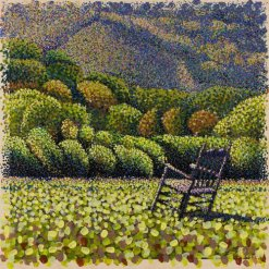 Acrylic pointillism painting, landscape with trees and rocking chair