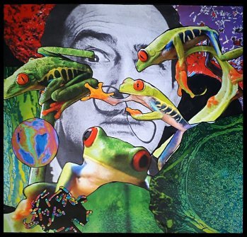 """Amphibian Circus,"" Traditional collage by <span style=""color: #0000ff;""><a style=""color: #0000ff;"" href=""https://www.deviantart.com/jujubrew"">JujuBrew</a></span>.  Banner image is a detail of this 2018 work measuring 47.5 x 5o cm. Used with permission of the artist.</span>"