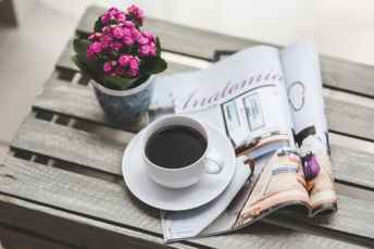 How to write a press release, image of magazine, flowers, coffee