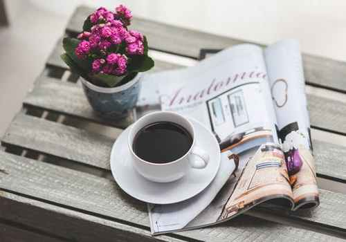 magazine, flowers, coffee