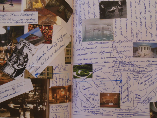 Photo of a page in my art writing journal by Thea Fiore-Bloom, 2010. Example of one form of of visual journaling I use to problem solve while writing. This journal page helped me finally finish a chapter in my dissertation on the importance of objects to artists, writers and thinkers.