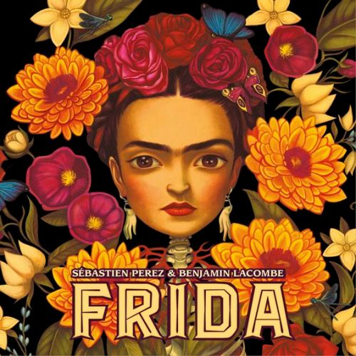 """Frida "" book cover by writer Perez and artist Lacombe. featuring luminous drawing of the head of Kahlo set atop a coral woven leafy skeleton of artist Frida Kahlo"