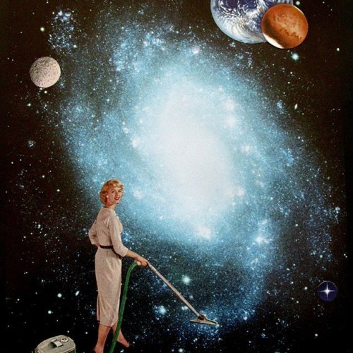 Hoovering by collage artist Shawn Marie Hardy featuring fifties beauty happily handling her vacuum in space
