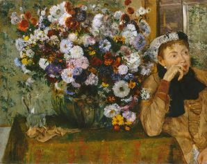 """Woman Seated beside a Vase of Flowers,"" by Degas ( who had a creative rivalry with Manet). 1865. Met, NYC. Public Domain in USA."