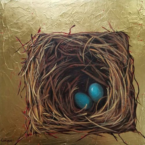 @@The Nursery@@, 2016, by Carlynne Hershberger. Acrylic and gold leaf on canvas, 16x16 in.