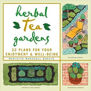 book cover of Herbal Tea Gardens, feating illustrations of mini gardens of wellness