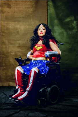 Yesenia as Wonder Woman. Photo portrait by Carlos David. Creatives need the courage of wonder woman to face our fears.