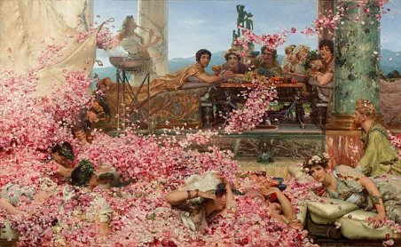 "The Google Gods of SEO for artists, depicted here as the painting ""The Roses of Heliogabalus,"" by Lawrence Alma-Tadema. 1888."