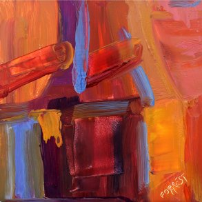 abstract painting in red tones for Jonah Complex post