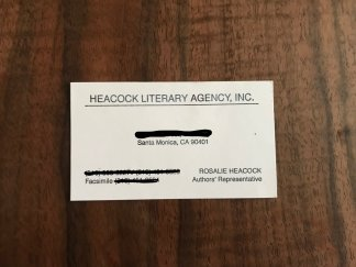 Business card of a literary agent I never got in touch with. My Jonah Complex evidence.