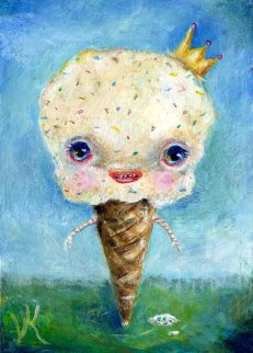 "IceCreamio, 2015, by ADD/ADHD artist Elizabeth Victoria Knowles. Oil on panel, 3.5"" x 2.5"" © 2015 Elizabeth Victoria Knowles. Used by permission of the artist."