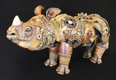 Art of Anvil Williamson, ceramic sci-fi rhino. for The Importance of Local Community for artists