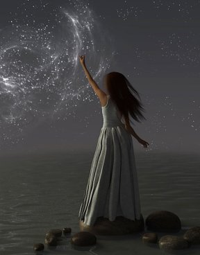 digital art of woman pointing toward a galaxy by a Charmed Studio subscriber for How to Fail Brilliantly post