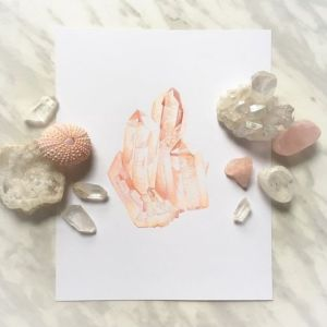 Example of a flat lay photo with crystals by artist Kately Morse
