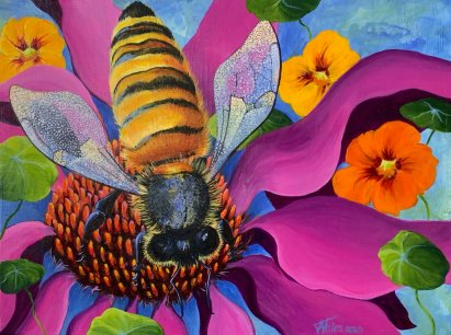 Bee on magenta flower painting for Mistakes Art Bloggers Make post