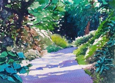 watercolor of garden path by Mineke Reinders