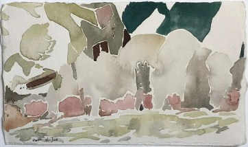 watercolor of mountain side for art website attraction magnet post