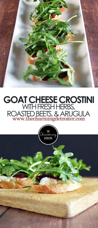 Goat Cheese Crostini: Featuring herbed goat cheese with roasted beets and lightly dressed arugula on a crostini.
