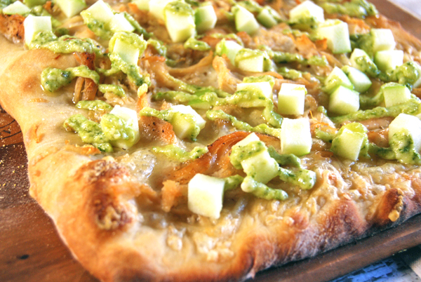 Chicken and Apple Pizza with Gruyere and Pesto Aioli | The Charming Detroiter