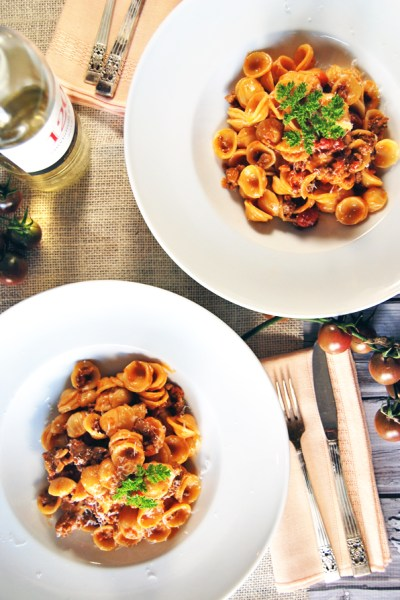 Spicy Creamy Chorizo Ragu with Tomatoes and Orecchiette | The Charming Detroiter