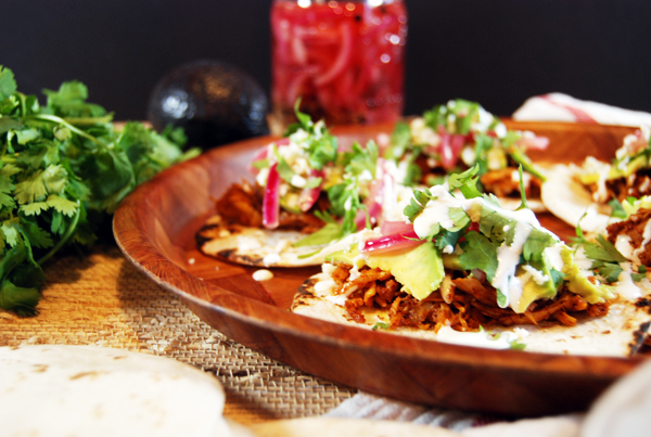 Ancho Achiote Shredded Chicken Tacos with Pickled Red Onions, Avocado, and Crema   The Charming Detroiter