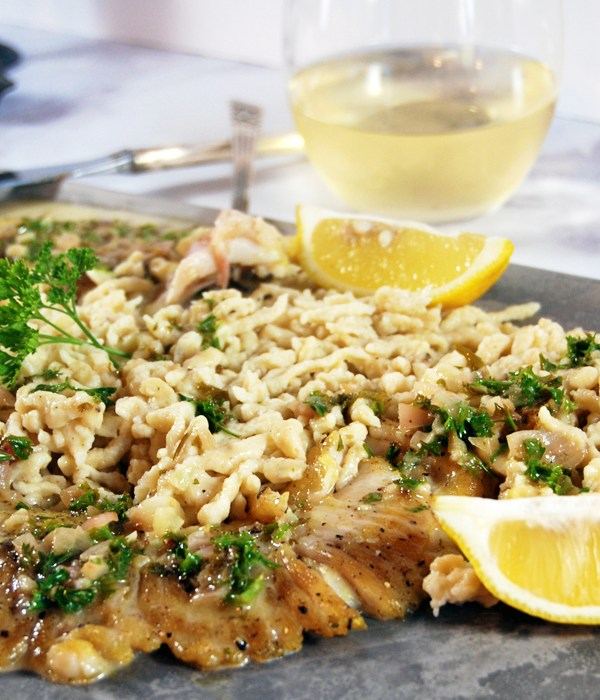 Pan Seared Skate Wing with Spaetzle and Lemon Beurre Blanc | The Charming Detroiter