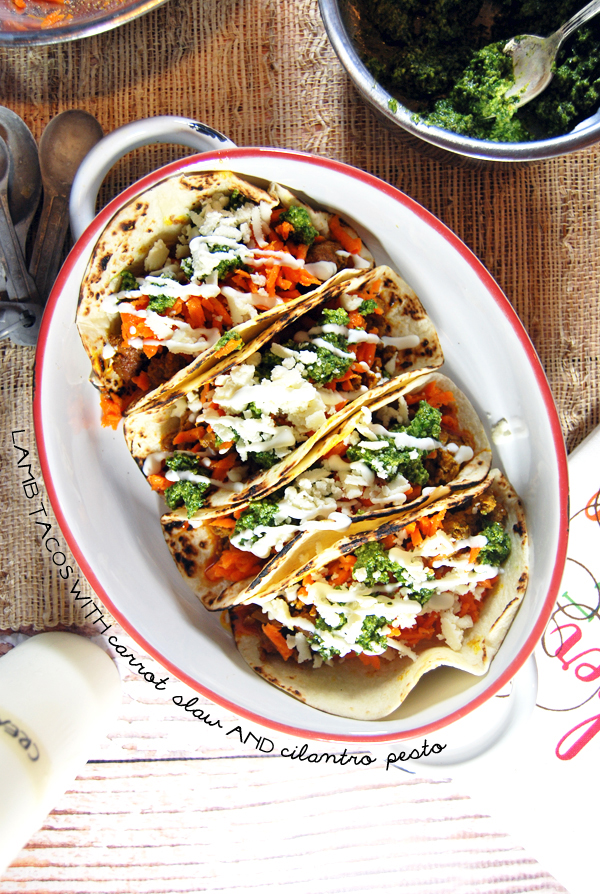 Lamb Tacos with Carrot Slaw and Cilantro Pesto   The Charming Detroiter