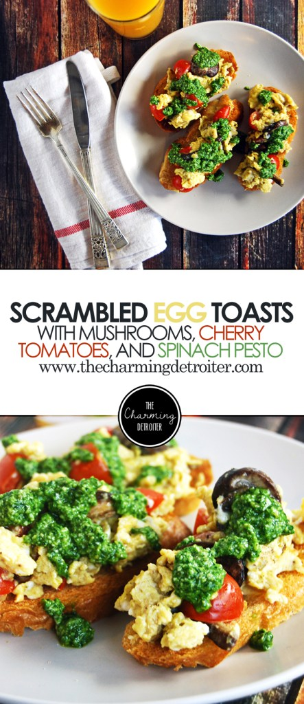 Scrambled Egg Breakfast Toasts with Mushrooms, Cherry Tomatoes, and Spinach Pesto: A fresh twist on traditional scrambled eggs!
