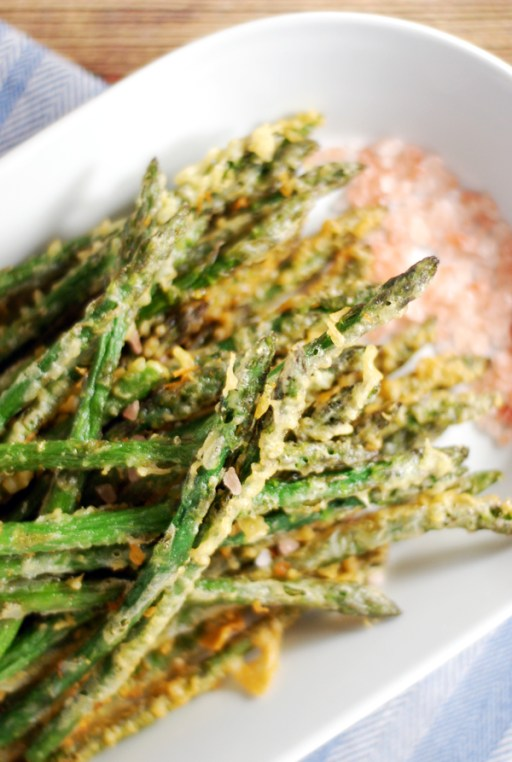 Crispy Battered Asparagus with Tangy Dijon Dipping Sauce: These lightly battered asparagus are the perfect side dish to your meal, and they are paired with a tangy dipping sauce made from Dijon and Greek yogurt!
