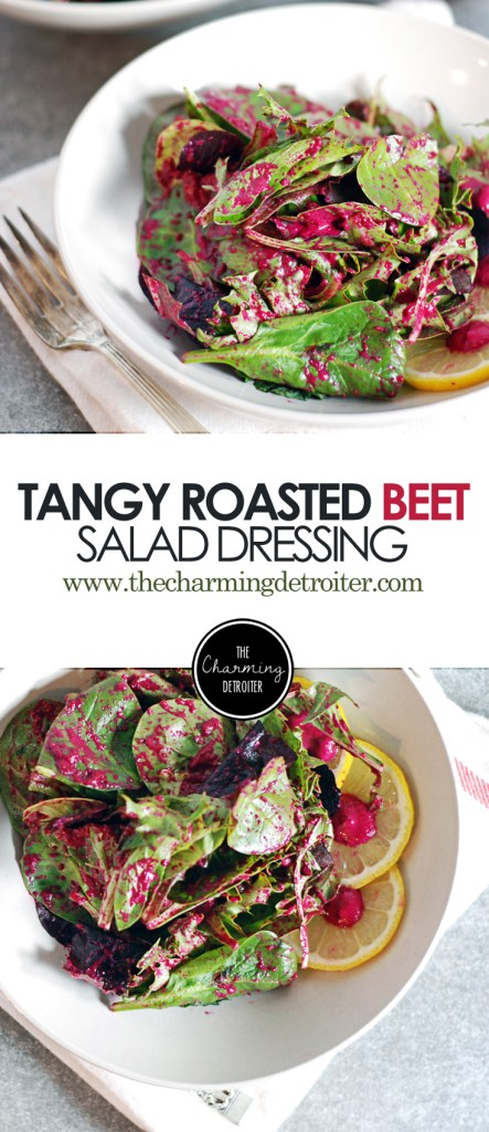 Tangy Roasted Beet Salad Dressing: A beautifully pink salad dressing made from roasted beets and creamy Greek yogurt!