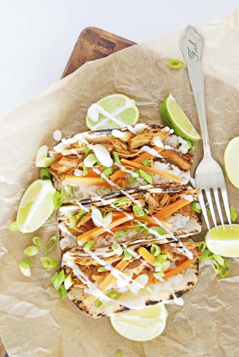 Slow Cooker Asian Shredded Chicken Tacos