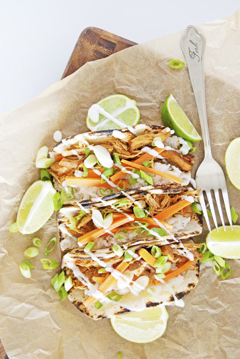 Slow Cooker Asian Shredded Chicken Tacos