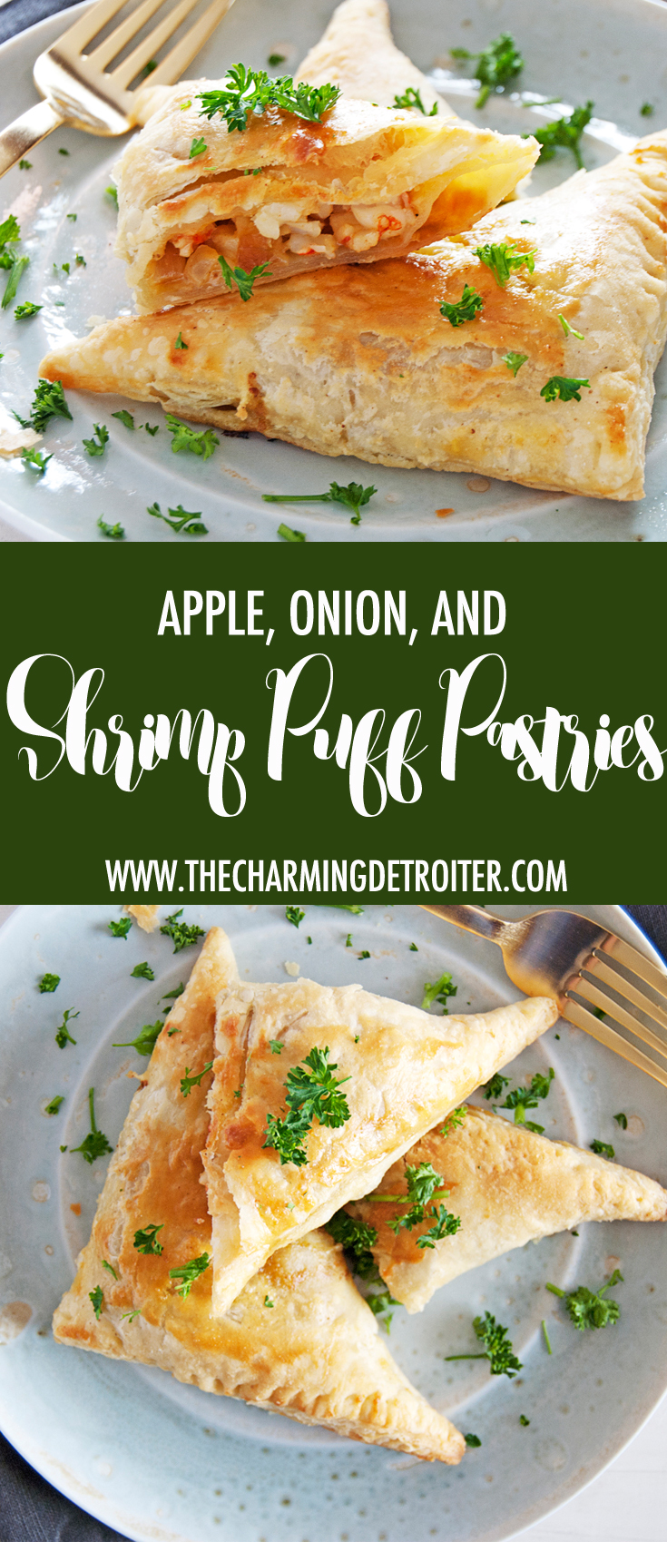 These flaky shrimp puff pastry recipe is filled with tasty sautéed shrimp, onions, and apples, with a beautifully creamy curry sauce.