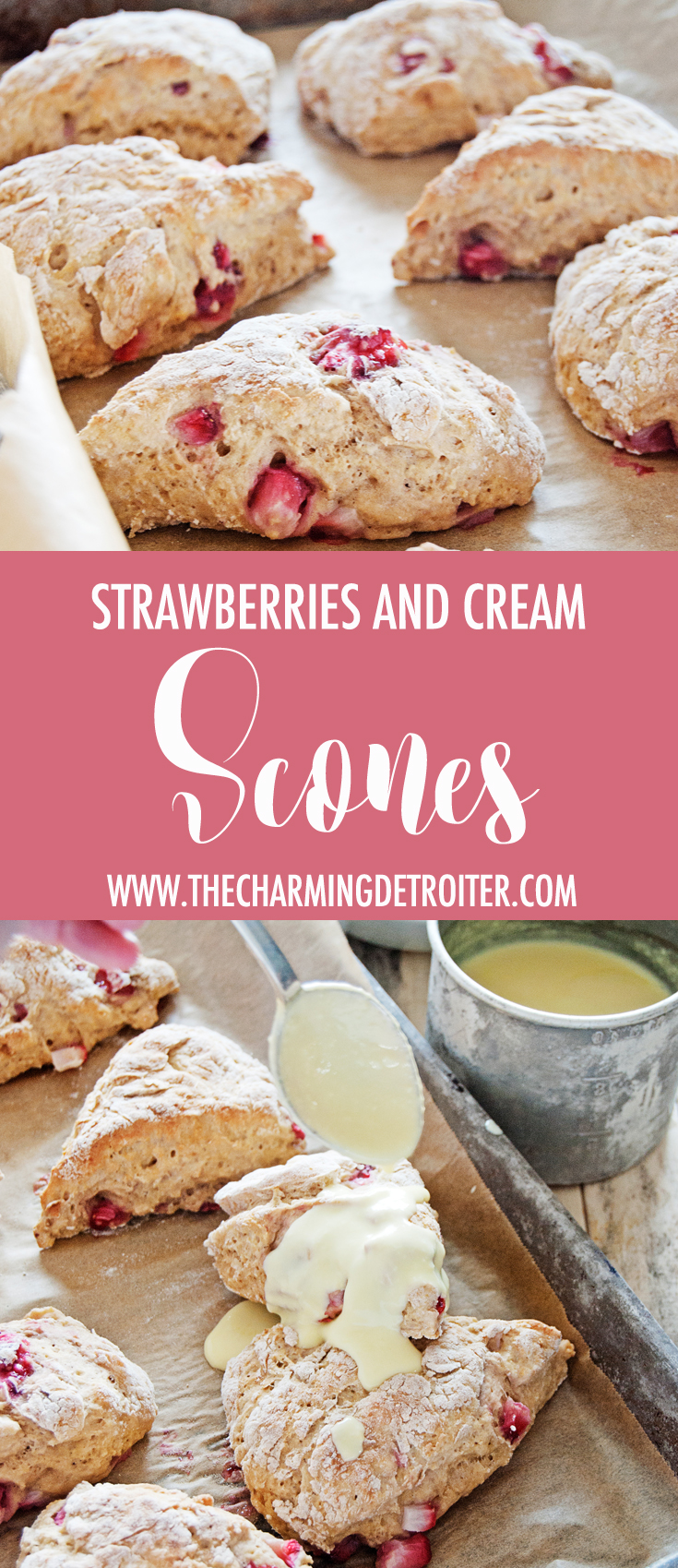 These strawberries and cream scones are ready in just 45 minutes and are paired with a creamy sweet treat on top: creme anglaise!