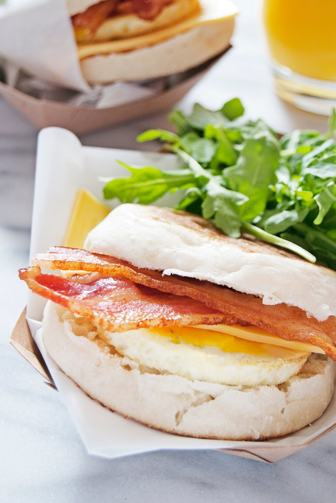 Make ahead breakfast sandwiches feature egg, bacon, and cheese on an English muffin and are the perfect protein-packed breakfast for on-the-go mornings!