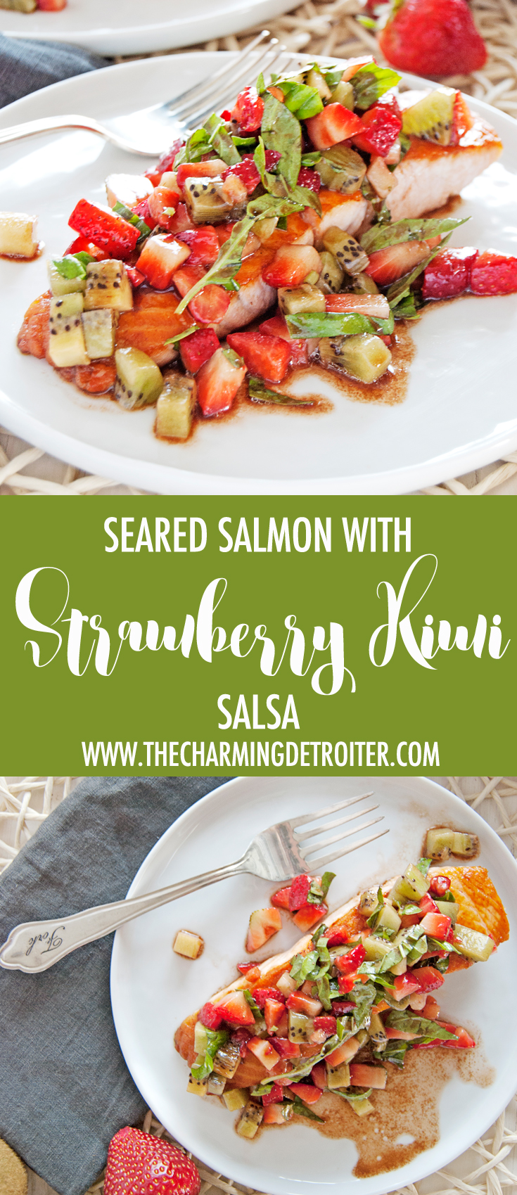 This simple and tasty seared salmon is paired with a deliciously refreshing strawberry and kiwi salsa with fresh basil and balsamic vinegar.