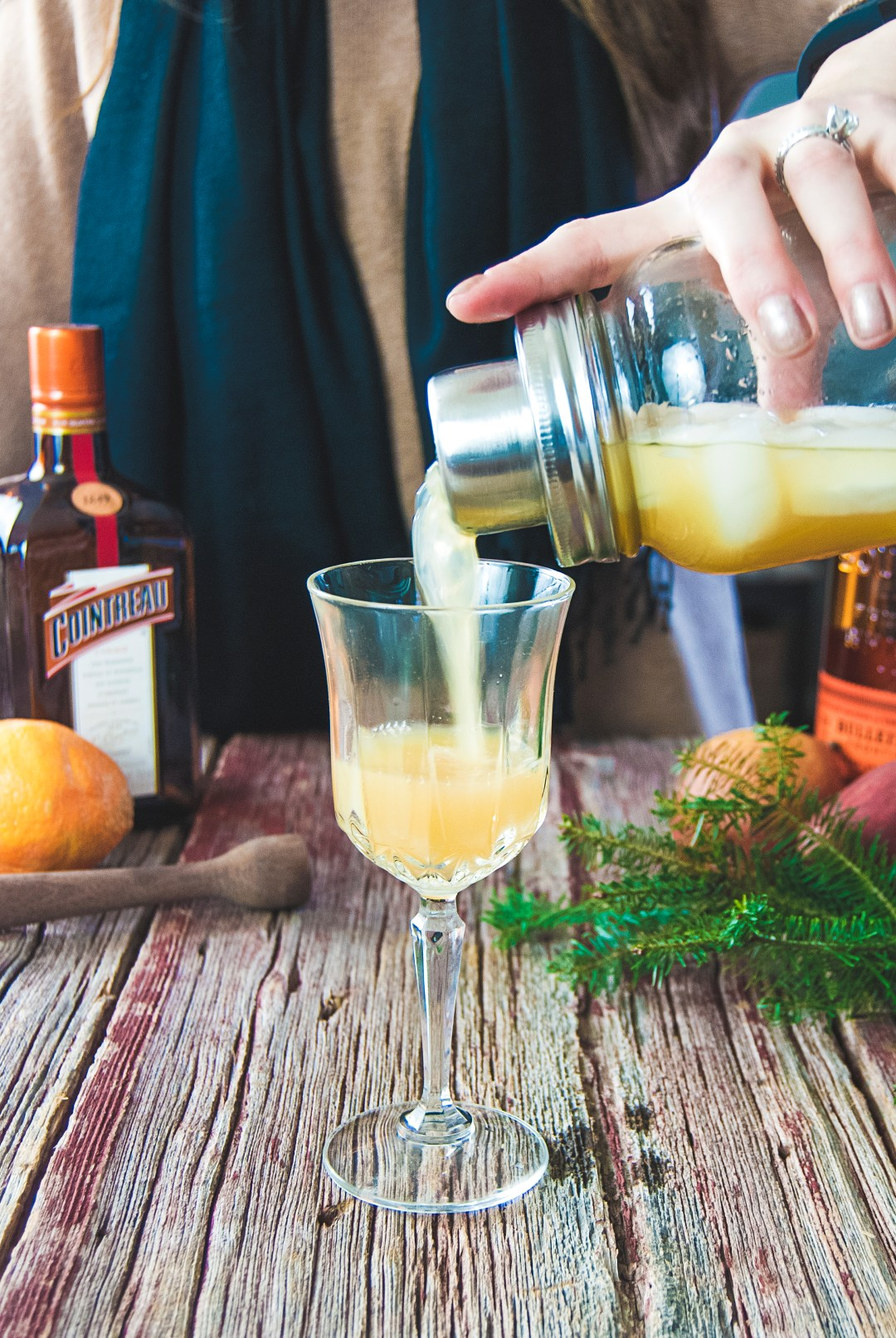 This pear cocktail is perfect for ringing in the new year, with bourbon, Cointreau, fresh squeezed orange juice, pear juice, and nutmeg.