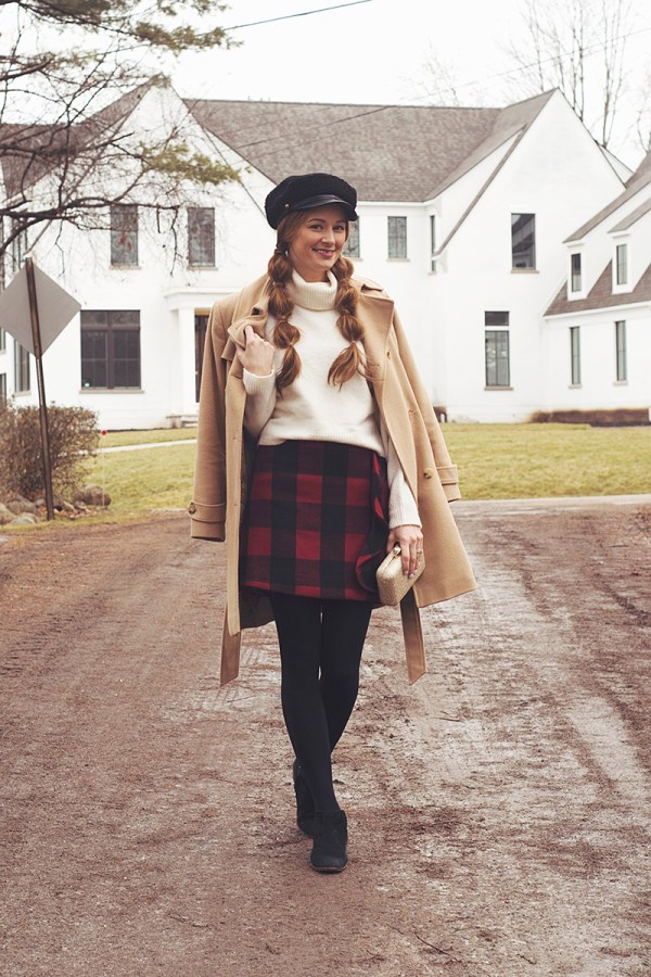 Merry Christmas! Today I'm sharing my three favorite holiday party looks, including this adorable red and black buffalo check skirt outfit!
