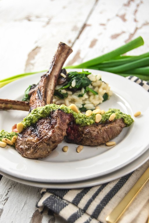 I'm pairing grilled lamb chops with the only sauce you'll ever need for lamb chops: a simple charred scallion pesto! Perfect for spring and summer nights!